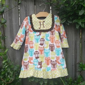 Boutique H monogram owl ruffle dress or tunic